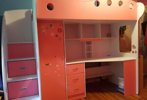 Girls loft bed with desk, 3 drawers and wardrobe cupboard