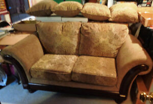 2 Mahogany Love seats Couch or Settee Matching 4 Pillows Ottoman