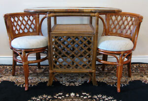 Superb  Petite Apartment Size Rattan Table Set For 2 SEE VIDEO