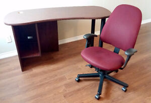 Kidney Shaped Computer Desk & Office/Computer Chair - $60 OBO
