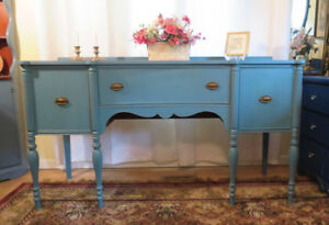 Gorgeous RIch Teal Shabby Chic Antique Sideboard