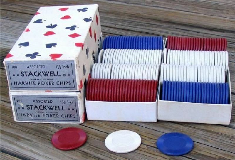 4 UNUSED OLD BOXES OF TEXAS HOLDEM POKER CHIPS ~ 3 BOXES SHOWN ~ SEE DESCRIPTION