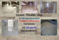 Ceramic & Procelain Tiles Installation also Vinyl Floor Install.