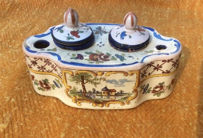 Antique 18th Century Inkwell Sceaux French Faience