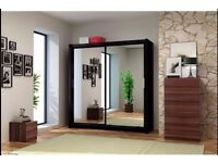 CHICAGO BLACK 203 Sturdy Free Standing Wooden Sliding Door Wardrobe SLIDER Bar