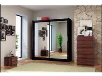 CHICAGO BLACK 203 Sturdy Free Standing Wooden Sliding Door Wardrobe SLIDER
