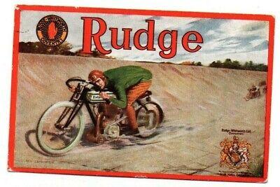 POSTER ADVERT POSTCARD RUDGE MOTORCYCLES BROOKLANDS TRACK VINTAGE USED 1913
