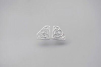 (Fashion Lovely Tiny Diamond Shape 925 Sterling Silver Stud Earring)