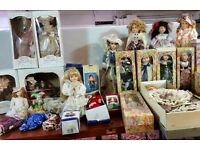 Job Lot of 33x PORCELAIN DOLLS on Stands, Velancia, D.S.N & Leonardo Collection