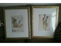 2 x gold effect framed pictures