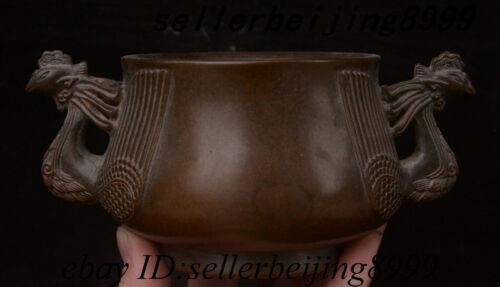 "7.6"" Chinese Purple Bronze Phoenix Head Incense Burner Censer Incensory Thurible"