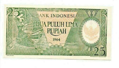 P-95 1964 INDONESIA BANK INDONESIA 25 RUPIAH SUPERB UNCIRCULATED   b