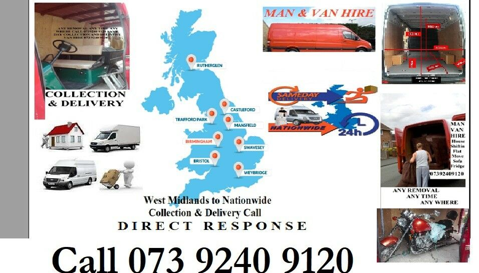 Transportation Removal Courier Man & Van Hire Birmingham to London Cardiff Oxford All UK Delivery Va