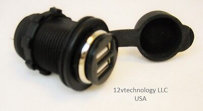Dual USB Charger Socket 12V Outlet Power Bottom Jack Motorcycles For iPhone