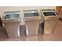 Set of 3 Metal PLANTERS, Zinc Garden Patio Outdoor Pot, New & Unused