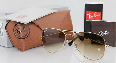 Geunine Ray Ban Aviator RB3025 001/51 all size Gold Frame Brown Gradient Unisex