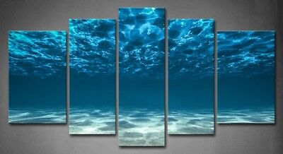 Blue Stretched Canvas Wall Art (Framed Wall Art Blue Ocean Bottom View Painting Canvas Print Seascape)