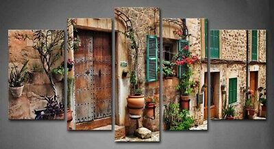 Framed Wall Art Decor Mediterranean Streets Canvas Print Architecture -