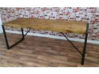 Steel & Reclaimed Wood Industrial Dining Table / Benches / Set