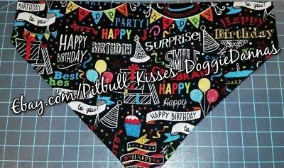 DOG CAT BANDANA Sz XS-L Over Collar HAPPY BIRTHDAY CHALKBOARD Bright Party! ](Chalkboard Happy Birthday)