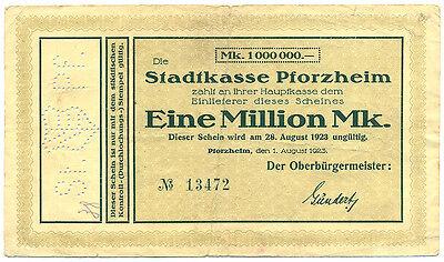 Pforzheim  Baden Stadt  1 Million Mark 1923 Ke. 4292 a Notgeld