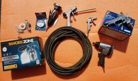 Air tools - Impact gun, cut off saw, spray gun + more