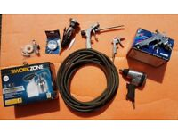 Air tools - Impact gun, cut off saw, spray gun + more