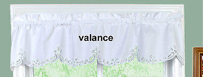 White Battenburg Lace Kitchen Curtain Valance 1PC New by Cre
