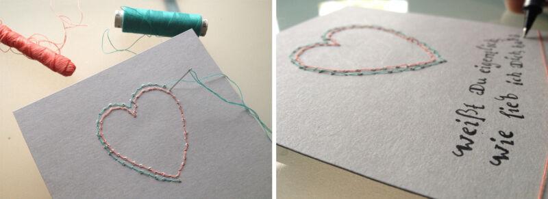 Ruckzuck ist ein herziges Karten-Unikat gestickt. (© Sina Huth)