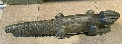 "Pre-Columbian Alabaster Statue Alligator or Lizard Excavated 1952 18.5"" long."