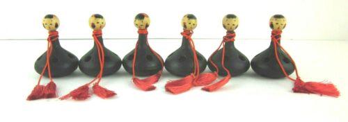 6 Nambu Tekki Black Cast Iron Bells With Kokeshi Doll Heads 2 1/2 Inches Tall