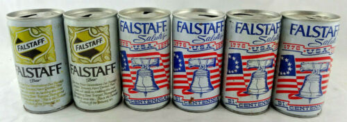 Qty. 6 Falstaff Beer Can Cans Steel Vintage Top & Bottom Opened Free Shipping
