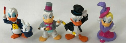 Vintage DONALD DUCK and DAISY Lot of 4 PVC Toy Figurines Tuxedo Magician Gown
