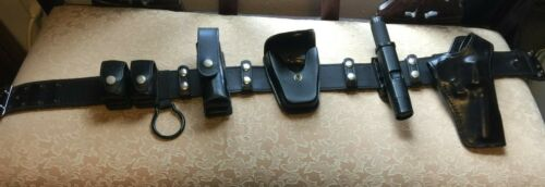 Plain Leather Duty Belt Size 34+ Police Security gear complete Set equipment