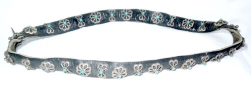 Outstanding STERLING TURQUOISE HATBAND Vintage*15 Conchos + 15 Butterflies*
