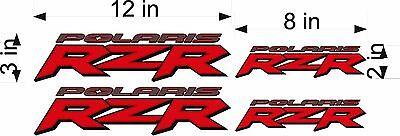 Polaris Logo Rzr   4 Pack   Red   Vinyl Atv Emblem Graphic Decal Stickers
