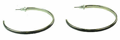 90'S FASHION INSPIRED LADIES SLIM HOOPS, BLACK/SILVER TONE DESIGN (ZX2)
