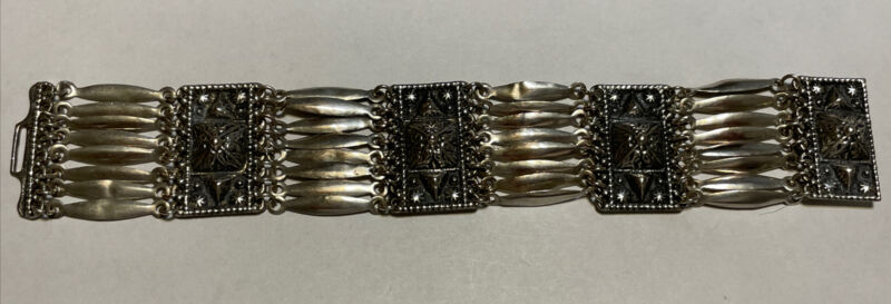 """Sterling Siver Repousse Panel Bracelet Made In Mexico 7"""""""