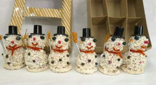 Vintage 1950s Christmas Flocked Snowman Lot With Original Box Japan