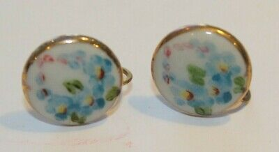 Vintage Porcelain hand painted Screw back earrings Gold trim Round Flowers