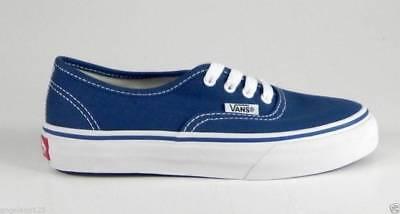 Vans Authentic Youths Children Kids Boys Girls Navy Bluve White Canvas Shoes - Boys White Vans Shoes