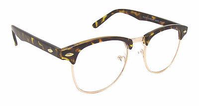 Vintage Tortoiseshell Browline Clear Lens Glasses Men's Women's 40's