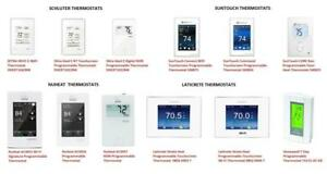 SCHLUTER Ditra Heat E-RT Programmable Thermostats, Nuheat Element / Home / Signature, SunTouch, Honeywell, Laticrete