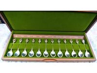 Set of 12 solid silver spoons 9ct gold inlay