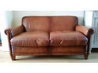 Laura Ashley Distressed Tan Brown Large Leather Burlington Sofa RRP £2000 - 2 Available