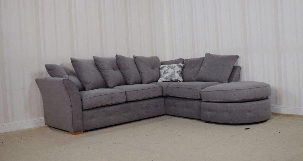 Homeflair Buoyant Sienna Fabric Grey 2 Piece Corner Sofa Stool 799