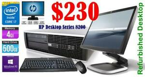 HP Desktop Intel i7 3.4 GHZ - 500 GB HDD - 4 GB Ram  (HP Elite Series 8200)