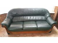 Green leather 3 seater sofa with matching armchair