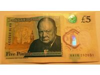 NEW Polymer Five Pound Note £5.00 AA16 232031