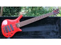 Superb Red 1991 Warwick 6 String Custom Thumb Bass, Sims Fret Lights, Ex Mario Cipollina-Huey Lewis